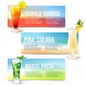 Cocktails banner set — Stock Vector