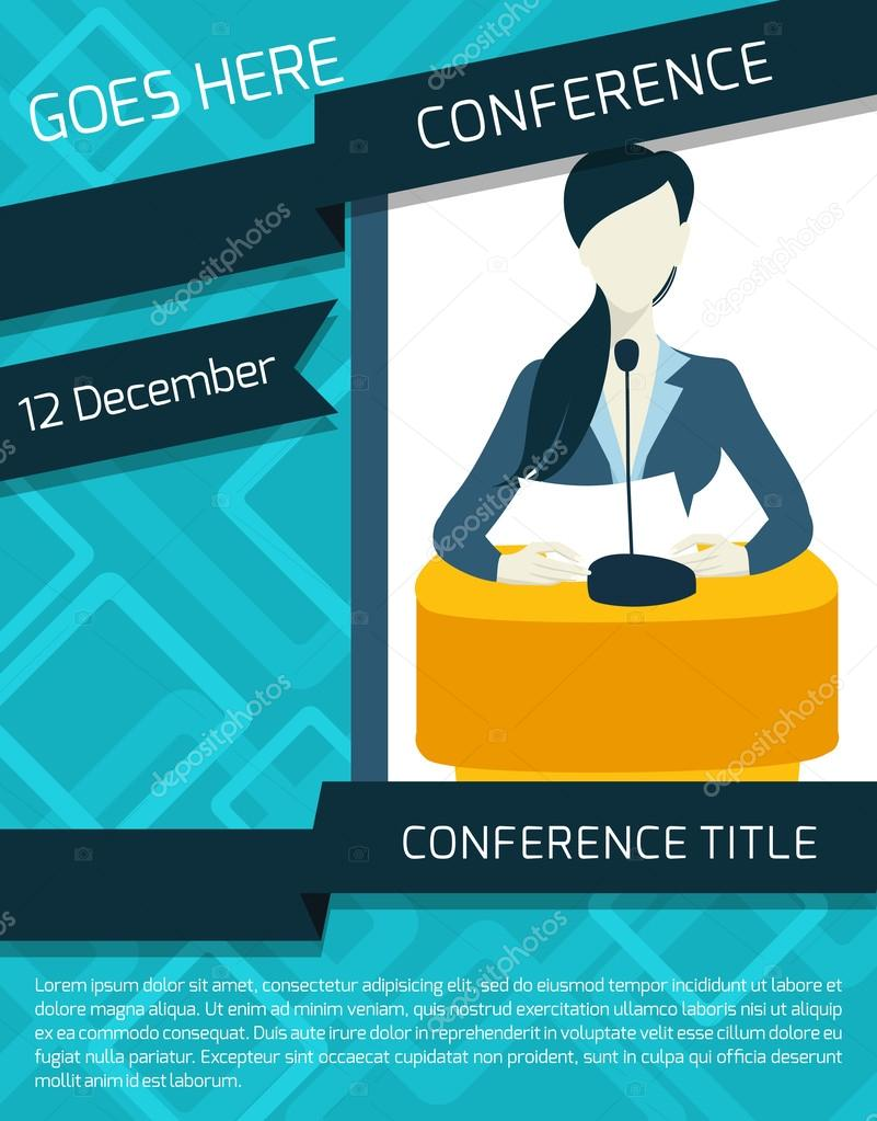 Conference announcement template Vector macrovector – Announcement Template