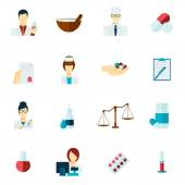 Pharmacist icon flat set — Stock Vector