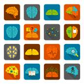 Brain icons flat set — Stock Vector