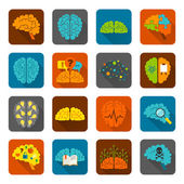 Brain icons flat set — Vector de stock
