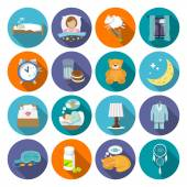 Sleep time icons flat — Stock Vector