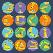 Robotic arm icons flat — Stock Vector