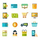 E-commerce icons set flat — Stock Vector
