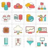 Data analysis flat line icons — Stock Vector