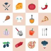 Pizzeria icons set — Stock Vector