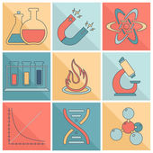 Laboratory equipment icons flat line — Stock Vector