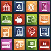 Mobile banking icons white — Vector de stock