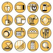 Food icons flat line set — Stock Vector