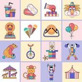 Circus icons set flat line — Stock Vector