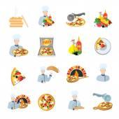 Pizza maker icon set — Stock Vector
