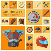 Motorcycle parts set — Stock Vector