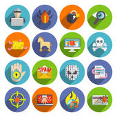 Hacker icons flat set — Stock Vector
