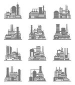 Industrial building icons set — Stock Vector