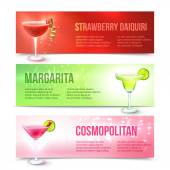 Cocktails banner set — Stockvector