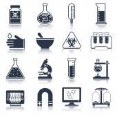 Laboratory equipment icons black — Stock Vector