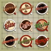 Coffee menu labels set — Stock Vector