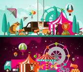 Circus day and night — Vetor de Stock