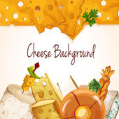 Cheese assortment background — Stock Vector