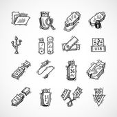 Usb icons set — Vecteur