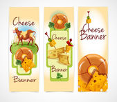 Cheese banners vertical — Stock Vector