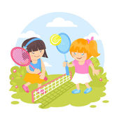 Girls playing tennis — Vector de stock