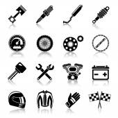 Motorcycle parts black set — Vettoriale Stock