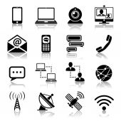 Communication icon black set — Stock Vector