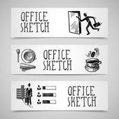 Office sketch banner set — Stock Vector