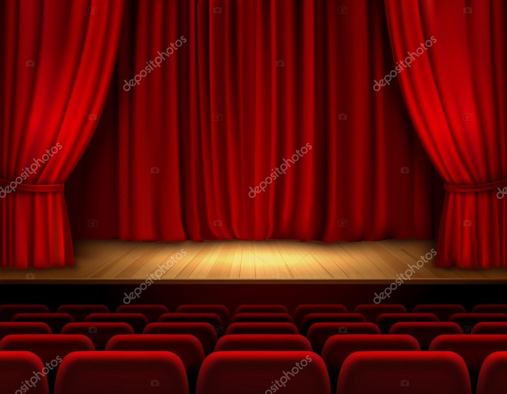 Theater Stage Background Stock Vector Macrovector