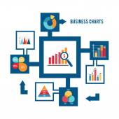 Business chart icons set — Wektor stockowy