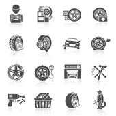 Tire service icon black — Stockvektor