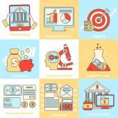 Financial concepts set flat line — Stock Vector