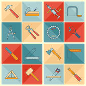 Carpentry tools flat line icons — Stock Vector