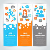 Job interview flat banner set — Stock Vector