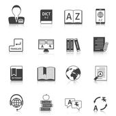Translation and dictionary icons set — Stock Vector