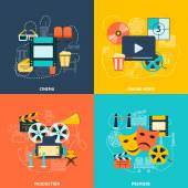 Cinema flat icons composition — Stock Vector