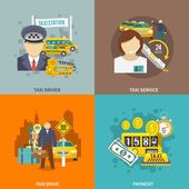 Taxi icons flat set — Stockvector
