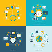 Time management flat icons — Stock Vector