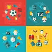 Soccer icons flat — ストックベクタ