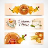 Cheese banners horizontal — Stock Vector