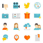 Social icons set flat — Vector de stock