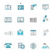 Media icons flat line set — Stock Vector