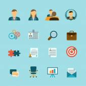 Human Resources Flat Icons Set — Stock Vector