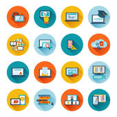 E-learning icon flat — Stock Vector