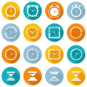 Clock icon flat set — Vettoriale Stock