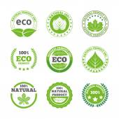 Ecological leaves labels icons set — Stock Vector