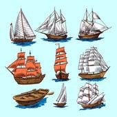 Ships and boats sketch set — Stock Vector