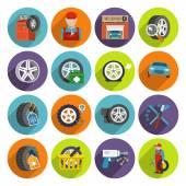 Tire service icon set — ストックベクタ