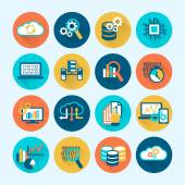 Database Analytics Icons Flat — Stockvector
